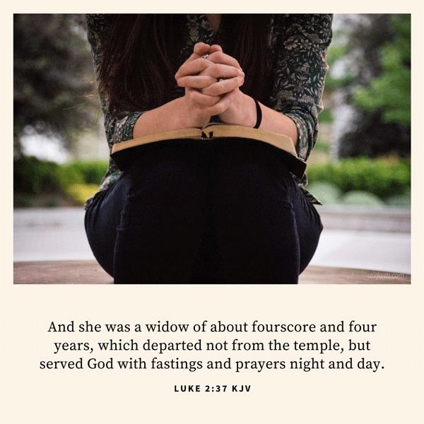 Luke 2:37 KJV Image