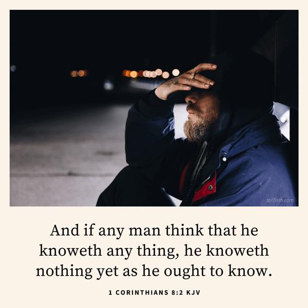1 Corinthians 8:2 KJV Image