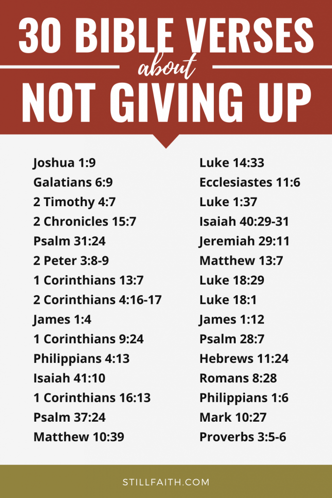 169 Bible Verses about Not Giving Up