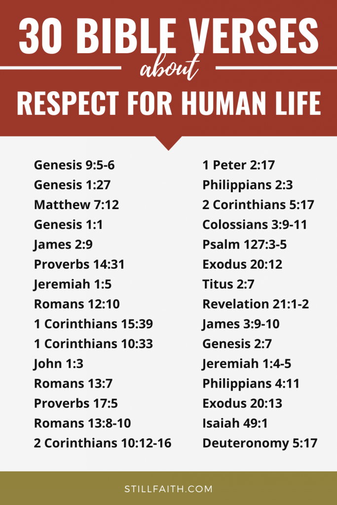 187 Bible Verses about Respect for Human Life