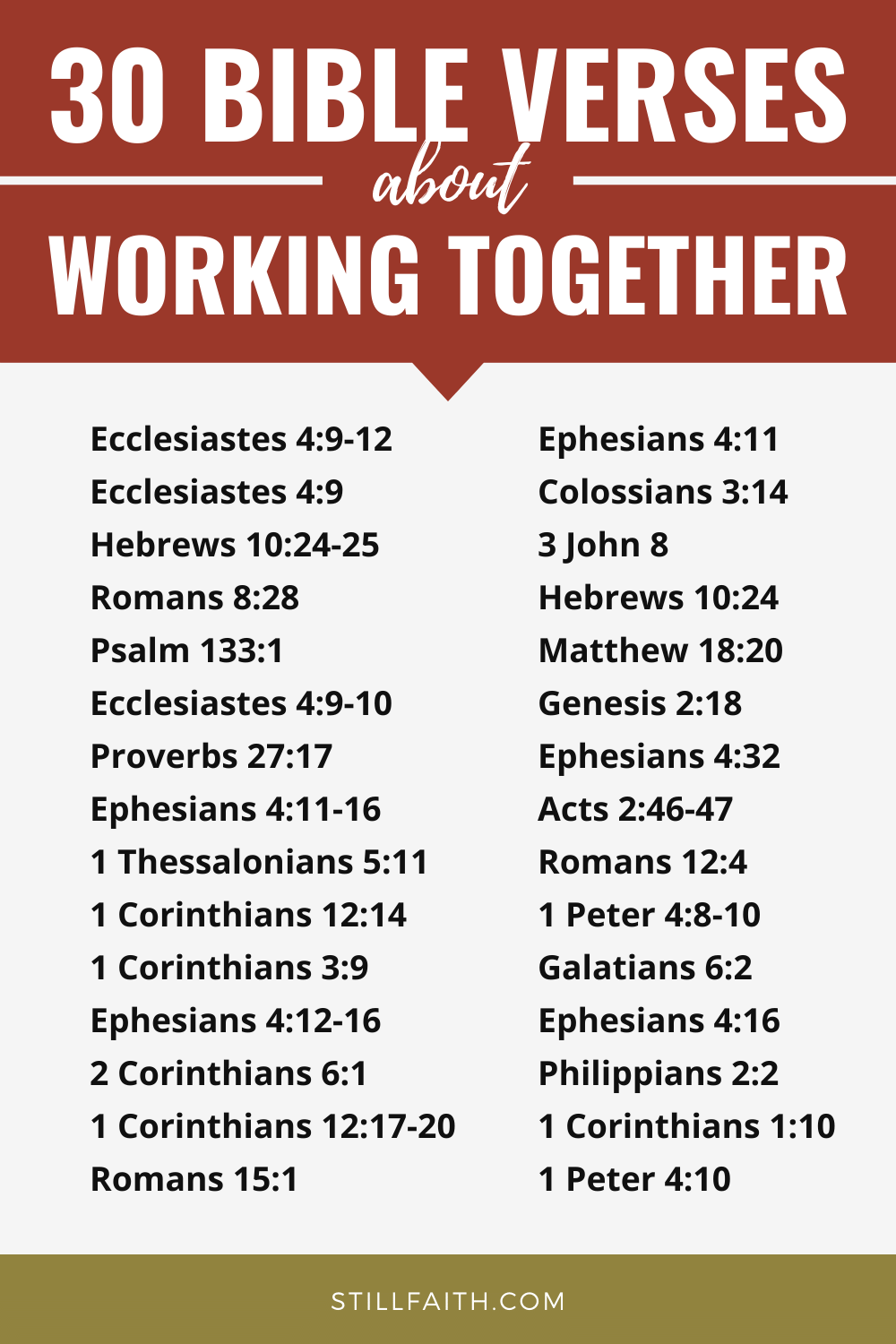 148 Bible Verses about Working Together