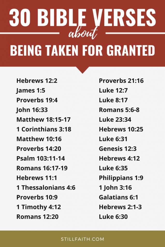 135 Bible Verses about Being Taken for Granted